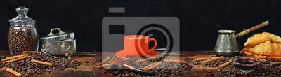 Plakat Duża panorama panoramy martwego życia na kawę