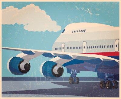 Plakat duże samoloty cywilne stary plakat