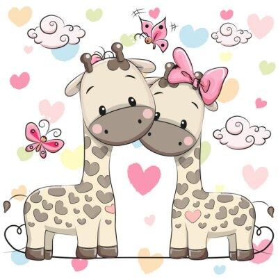 Plakat Dwa słodkie żyrafy