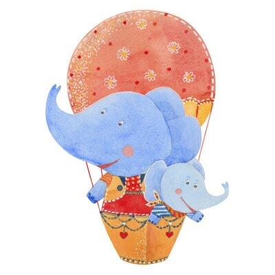 Plakat dwa słonie latać balonem, akwarela ilustracji