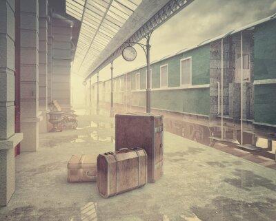Plakat Dworzec kolejowy retro