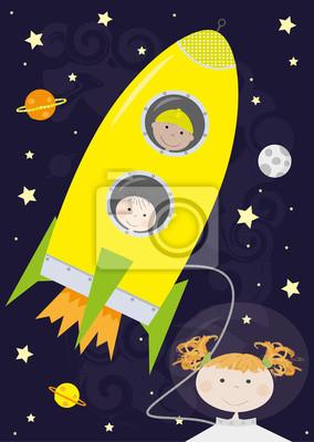 Plakat Dzieci Rakieta Kosmos Wektory