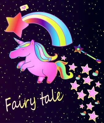 Plakat Dziecko plakat ładny różowy jednorożca z tęczy na piękne tło gradientowe z gwiazd i serca