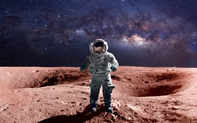 Plakat Dzielny astronauta na spacer kosmiczny na Marsa. Ten obraz elementy dostarczone przez NASA.
