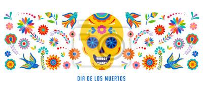 Plakat Dzień zmarłych, Dia de los muertos koncepcja tło, baner i kartkę z życzeniami z czaszką cukru.