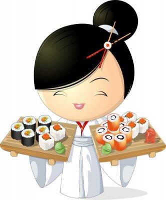 Plakat Dziewczyna sushi