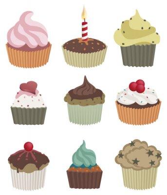 Plakat Dziewięć cupcakes. Ilustracji wektorowych z dziewięciu pysznych babeczek.