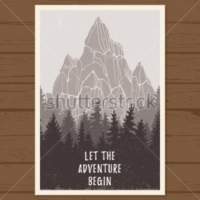 Plakat Dziki las iglasty plakat z górą; sosna, przyroda, naturalna panorama drewna; przygoda na świeżym powietrzu camping, turystyka, turystyka, szablon projektu; ręcznie opracowane ilustracje wektorowe
