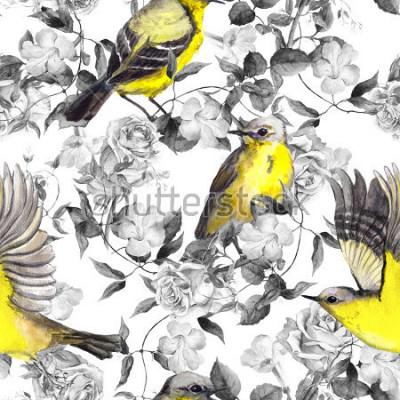 Plakat Dzikie kwiaty łąkowe i ptaki. Akwarela. Neutralny wzór w monochromatycznych czarno-białych kolorach z jasnymi ptakami