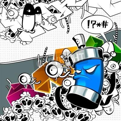 Plakat Dziwny obraz graffiti puszki