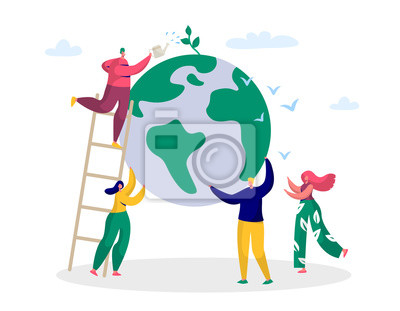 Plakat Earth Day Man Save Green Planet Environment. People of World Water Plant for Ecology Celebration Preparation in April. Nature Globe Ecology Protect Concept Flat Cartoon Vector Illustration