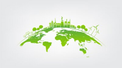 Plakat Ecology concept with green city on earth, World environment and sustainable development concept