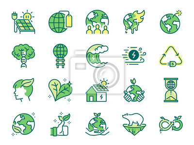 Plakat Ecology icon set. Included icons as eco product, clean energy, renewable power, recycle, reusable, go green and more.