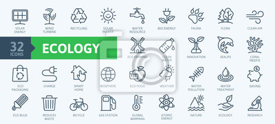 Plakat Ecology minimal thin line web icon set. Outline icons collection. Simple vector illustration