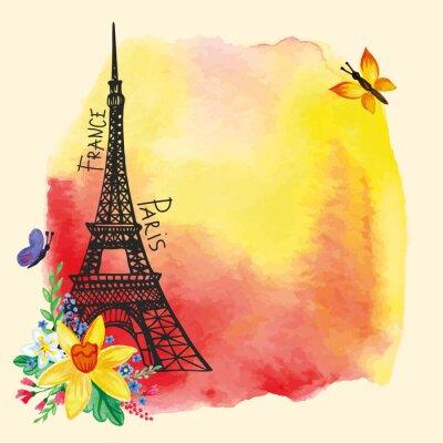 Plakat Eiffel tower,Watercolor stain,Narcissus bouquet.Paris card