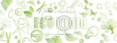 Plakat Ekologiczny baner doodles