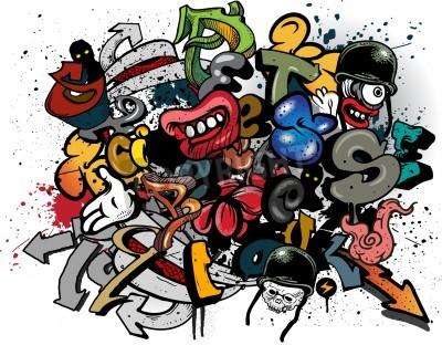 Plakat Eksplozja graffiti elementów