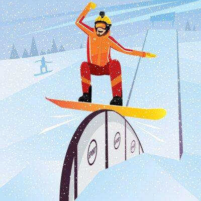 Plakat Ekstremalne zawodnik porusza się w dół z góry na snowboard
