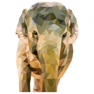 Plakat Elefant aus Dreiecken geformt auf weißem tła im quadratischen Format