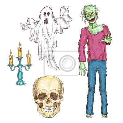 Elementy Halloween zestaw szkic kolor ikony