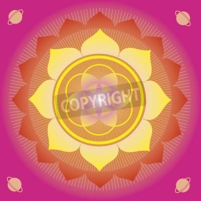 Plakat elementy kwiatowe i mandali z ezoterycznym znaczeniu dla praktyki jogi i projektowania dla zdrowia i dobrego samopoczucia