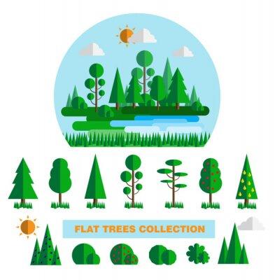 Elementy lasem zestaw z drzew krzewów roślin dziennika i pieniek izolowane ilustracji wektorowych