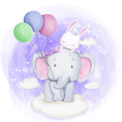 Plakat Elephant and Rabbit Celebrate Birthday