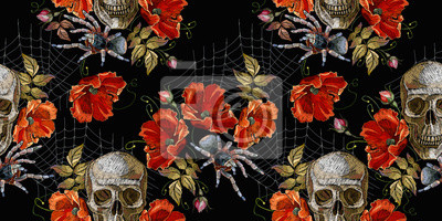 Plakat Embroidery skull and red roses, spider and web seamless pattern. Horror halloween background. Clothes template and t-shirt design. Dark gothic art