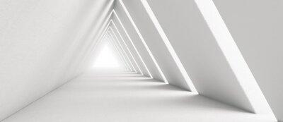 Plakat Empty Long Light Corridor. Modern white background. Futuristic Sci-Fi Triangle Tunnel. 3D Rendering