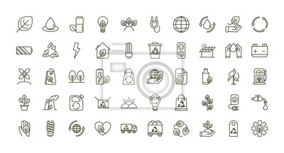 Plakat environment ecology icons collection line