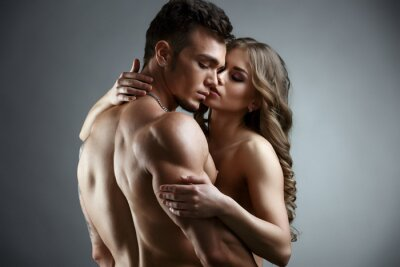 Plakat Erotyka. Embrace atrakcyjne nagie para