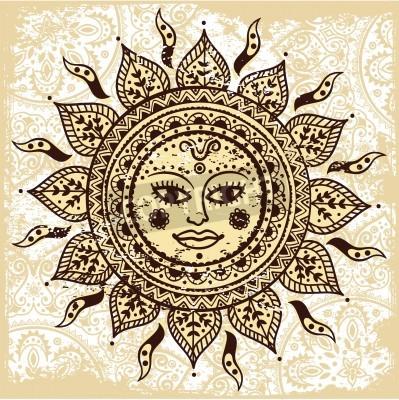 Plakat Ethnic ozdobnych słońce