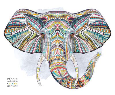 Plakat Etnicznych wzorzyste głowa słonia na tle folwark / Afryka / indian design / totem / tatuaż. Użyj do druku, plakaty, koszulki.