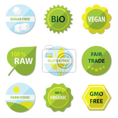 Etykiety Ekologiczne I Zdrowe Jedzenie Plakaty Na ścianę Plakaty