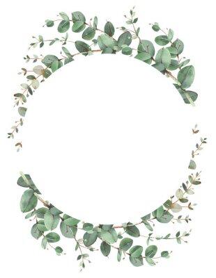 Plakat Eucalyptus circle frame composition