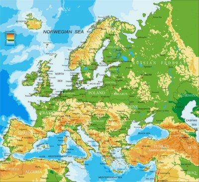 Plakat Europa - mapa fizyczna