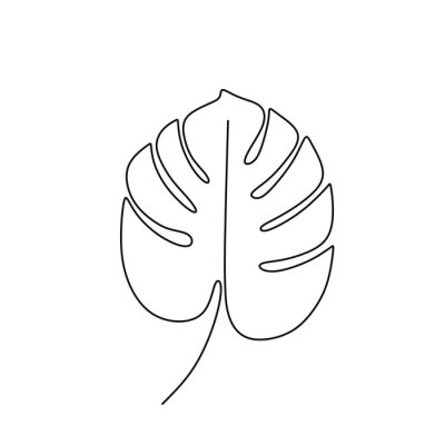 Plakat Exotic monstera continuous one line drawing summer tropical leaf hand drawn on white background minimalist design