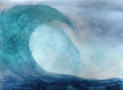 Plakat Fal oceanicznych w akwareli