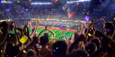 Plakat Fani na stadionie gry widoku panoramy