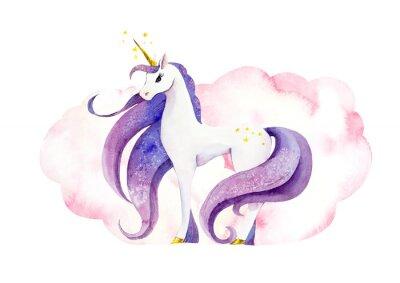 Plakat Fantastic animal - unicorn in pink clouds/ Watercolor hand drawn illustration