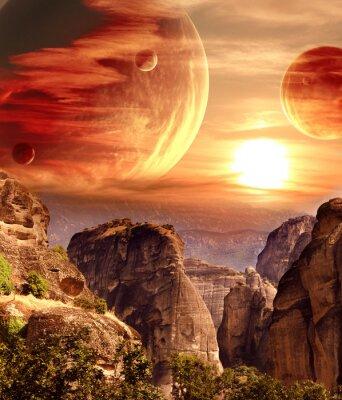 Plakat Fantastyczny krajobraz z planety, góry, zachód słońca