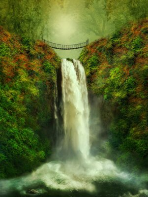 Plakat fantastyczny wodospad i most