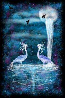Plakat Fantasy dwie czaple