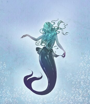 Plakat Fantasy original raster illustration of a cute and beautiful anime mermaid with long blue curly  hair with her back to the viewer