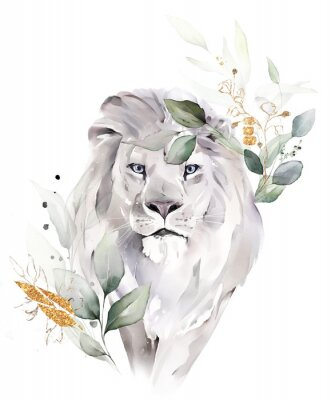 Plakat fashion watercolor illustration. Drawing - lion with tree leaves. Botanic and animal print isolated on white background