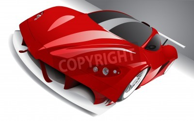 Plakat fast racing red car, layered, fully editable