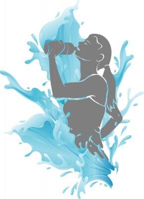 Plakat Female Drinking Fresh Water