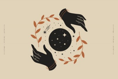 Plakat Female hands hold branches around the shimmering moon. Magic vector illustration in trendy minimal style. Mystical symbols for spiritual practices, ethnic magic, and astrological rites.