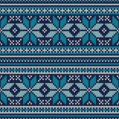 Plakat Ferie zimowe Jednolite wzór dzianiny. Fair Isle Sweter Desig