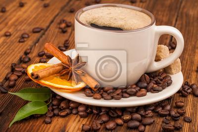 Plakat filiżanka kawy i fasoli